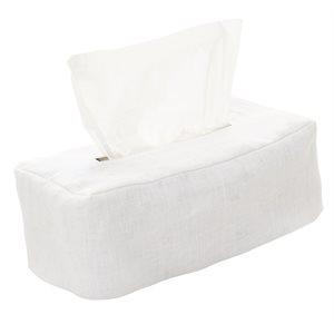 Linen white tissue box cover