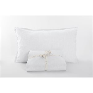 Linen white king sheet set 4 pcs
