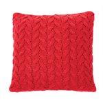 Coussin rouge en tricot Rudolph