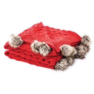 Jeté rouge en tricot Rudolph
