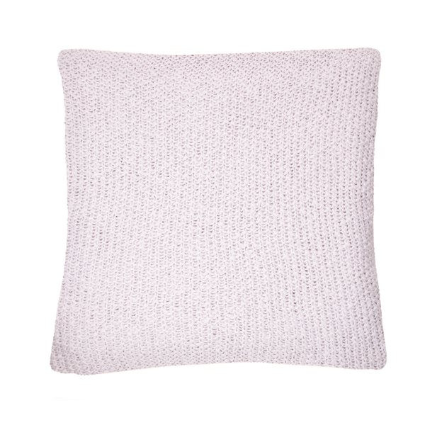 Bulky white knitted cushion