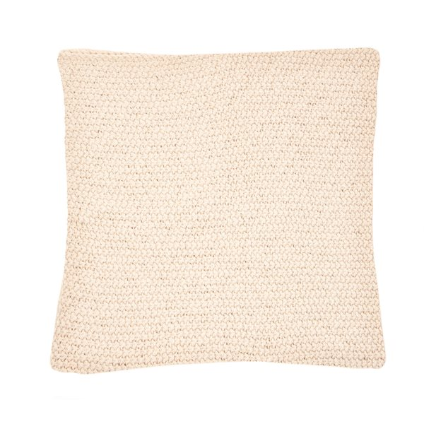 Bulky natural knitted cushion