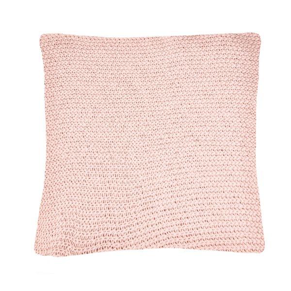 Coussin en tricot rose Bulky