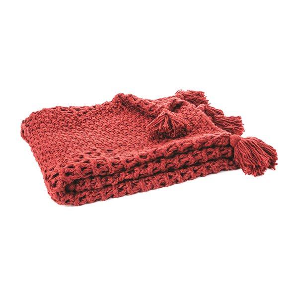 Jeté tricot rouge Houmous