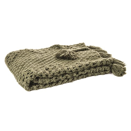 Houmous green knitted throw