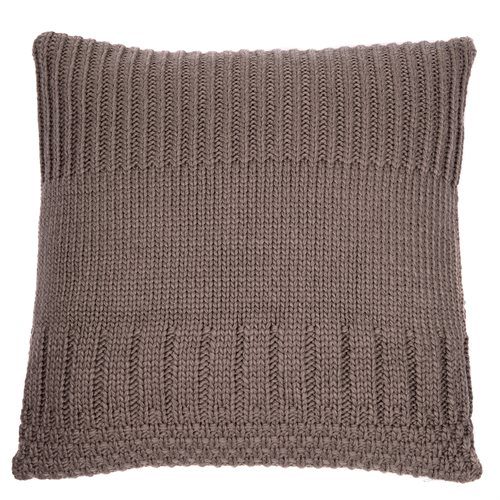 Coussin en tricot taupe Baba