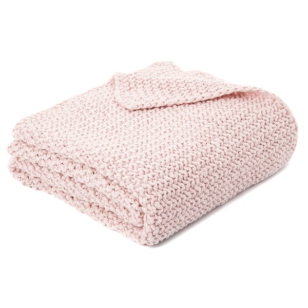 Jeté en tricot rose Bulky