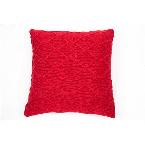 Coussin en tricot rouge Carmin