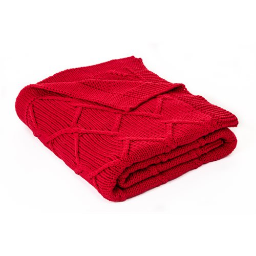 Carmin knitted red throw
