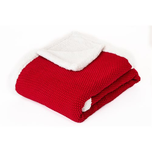 Cherry knitted red throw
