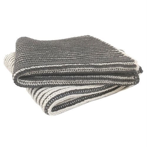 Janette charcoal striped knitted dish cloths