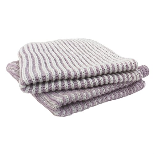 Janette lilac striped knitted dish cloths