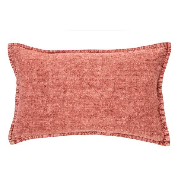 Linen Stone Wash raspberry cushion
