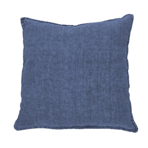 Linen stone wash navy european pillow