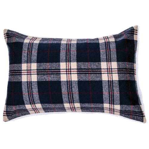 Cache oreiller à carreaux marine et rouge Lumberjack