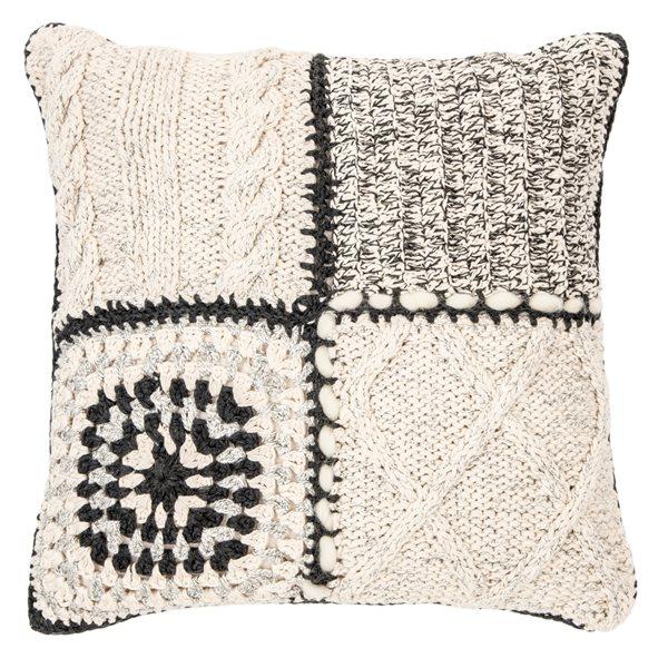 Coussin en tricot ivoire Mezze