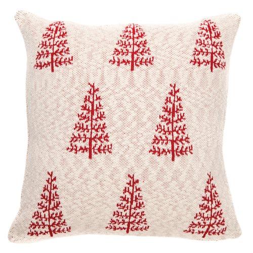 Coussin crème avec sapins rouges Pine