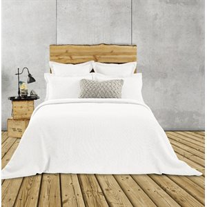 Rustic white jersey quilted duvet cover