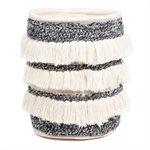Panier en tricot gris à franges Samba