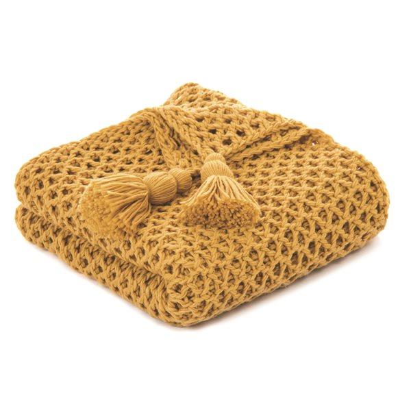 Jeté en tricot moutarde Shiva