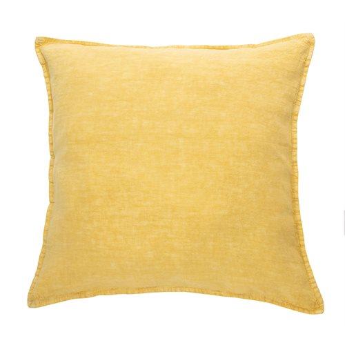 Oreiller européen jaune en lin Linen Stone Wash