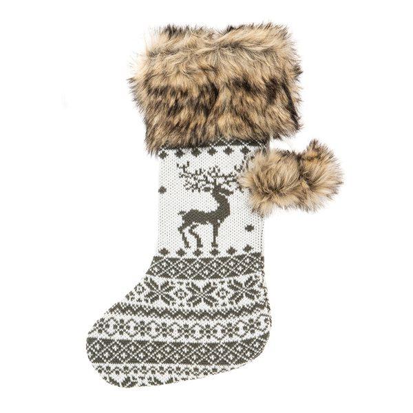 Bas de Noël en tricot gris et blanc Surprise