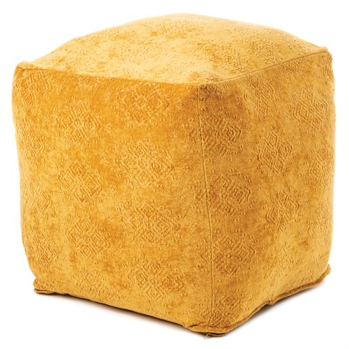 Pouf en velours jacquard moutarde Toro