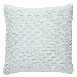 Cache oreiller européen bleu pâle Tricot