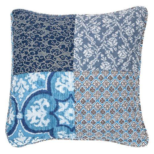 Cache coussin bleu patchwork Victorine