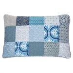 Cache oreiller bleu patchwork Victorine