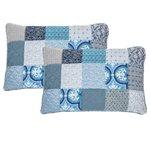 Victorine blue patchwork pillow sham