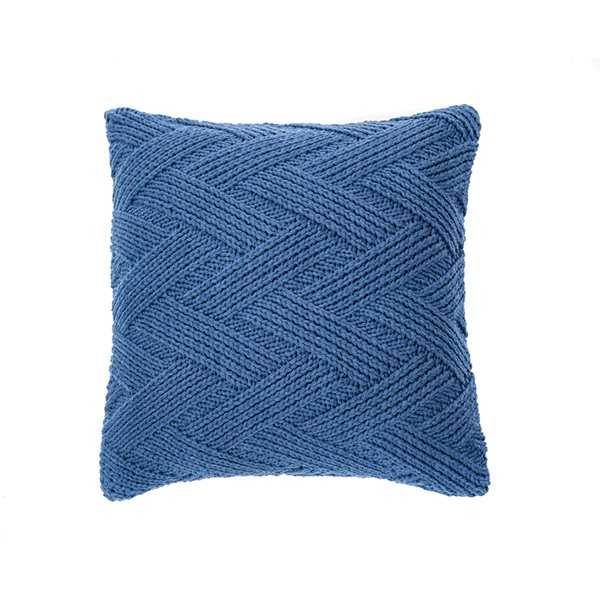 Coussin en tricot bleu Zig zag